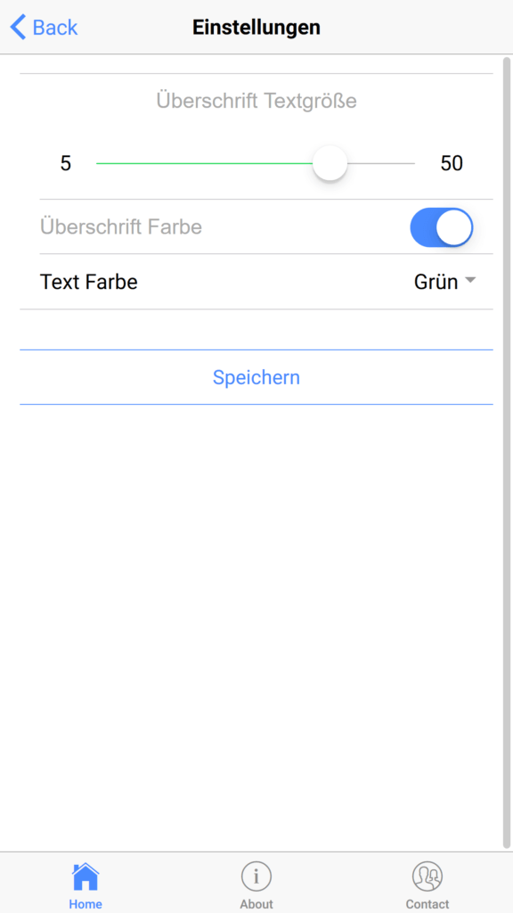 Settings Page mit Globalen Variablen