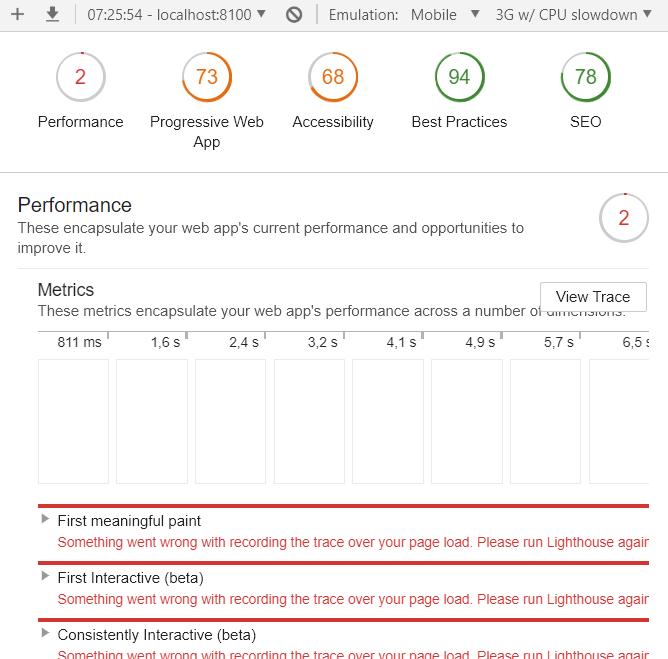 Ergebnisse Audit von Google Chrome