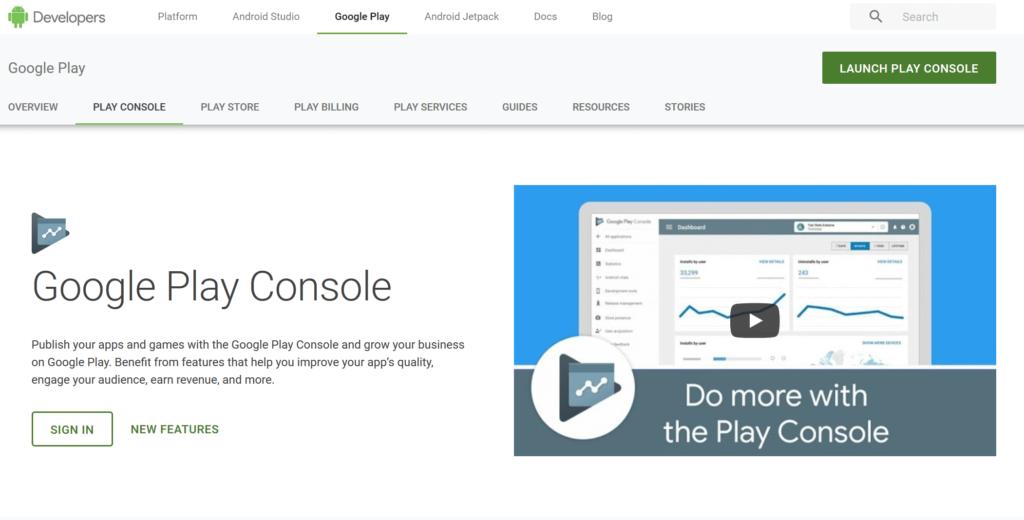 Anmelden bei Google Play Console zum Hochladen der Ionic App