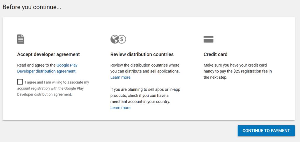 Google Play Console möchte 25 Dollar per Kreditkarte