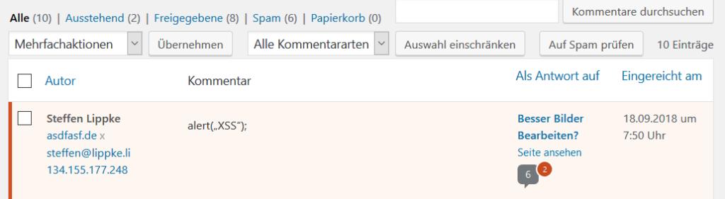 Wordpress ist schlau und erkennt die Script Tags