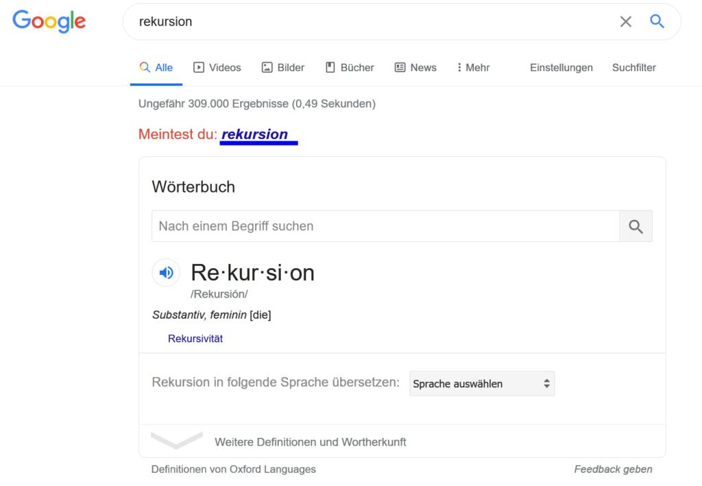 Easter Egg Google Rekursion - Rekursionen rufen sich selber wieder auf Billion Laughs Attack