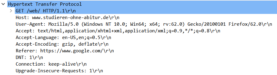 HTTP wird sichtbar mit allen Details
