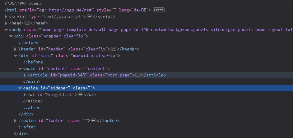 Exemplarische DOM in HTML