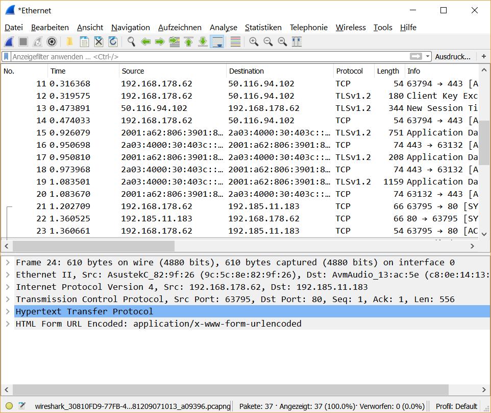 Wireshark nach 2 Sekunden schneiden