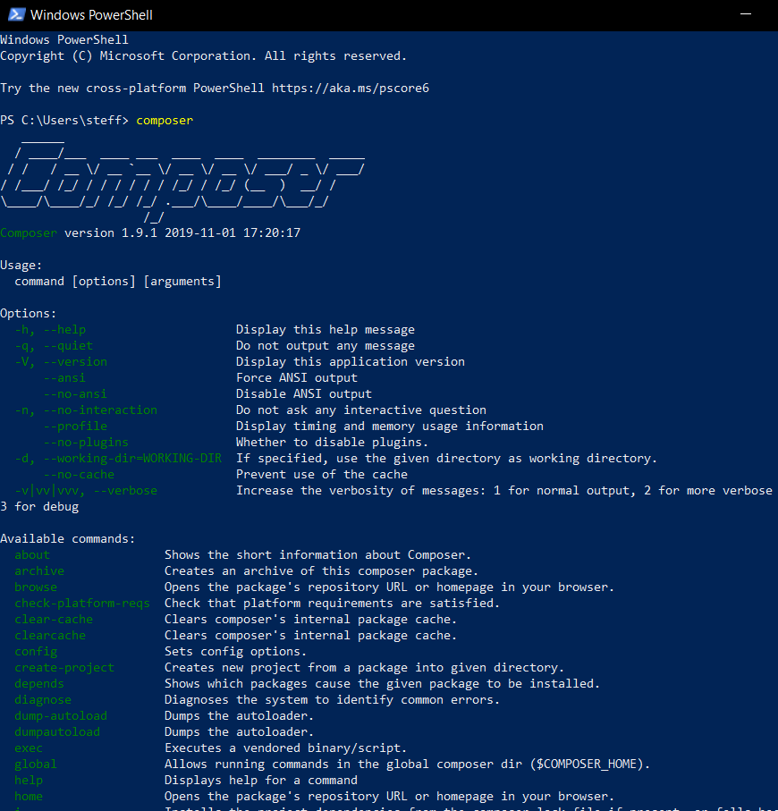 08 Composer Powershell Startup - Laravel Tutorial deutsch Guide Steffen Lippke