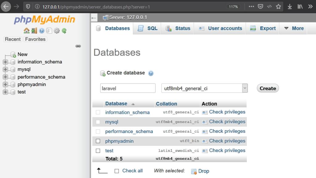 11 phpmyadmin füge ein Datenbank hinzu - Laravel Tutorial deutsch Guide Steffen Lippke