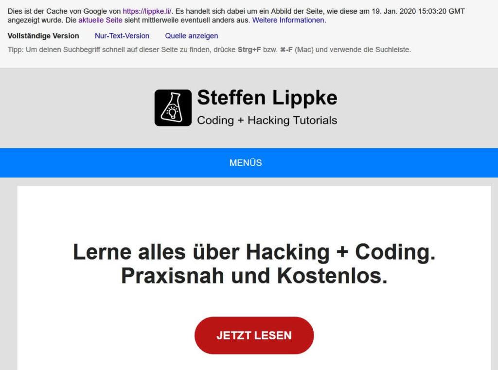 02 Cache von Google - Pentest  deutsch Steffen Lippke
