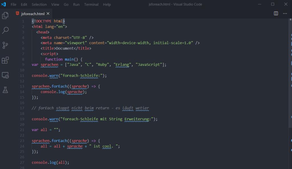 00 foreach in VS Code - JavaScript foreach Coding Lab Steffen Lippke einfach erklärt